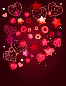 Free Contour Hearts On Dark Red Background Royalty Free Stock Image - 17966926