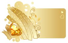 Free Gold Ribbon And Jewel On Beige Background Royalty Free Stock Photos - 17966968