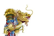 Free Golden Dragon Statue On White Background Stock Photography - 17967462