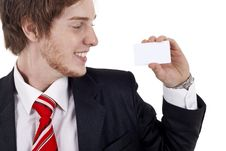 Free Business Man With White Card Royalty Free Stock Images - 17967499