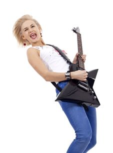 Blond Woman With Guitar Royalty Free Stock Images