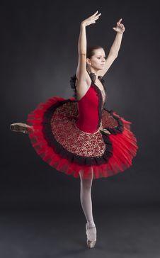 Free Pretty Ballerina Posing In A Red Tutu Stock Image - 17967651