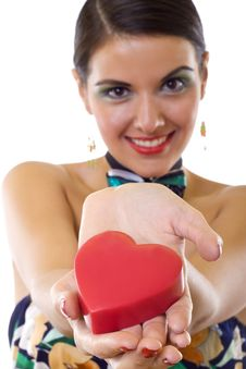 Free Woman Holding A Big Red Heart Stock Images - 17967694