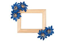 Free Wooden Photo Frame With Blue Flowers Stock Photography - 17967722