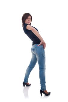 Free Girl In Jeans Posing In Studio Stock Images - 17967724