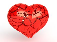 Free Heart Made Of Red Plastic, Broken Into Pieces №2 Royalty Free Stock Photography - 17967747