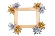 Free Wooden Photo Frame With Golden And Silver Flowers Royalty Free Stock Photography - 17967757