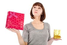 Free Pensive Woman With Shopping Bags Stock Images - 17967874