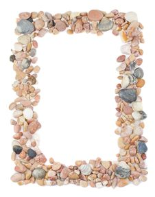 Frame From Seashells And Stones Royalty Free Stock Photo