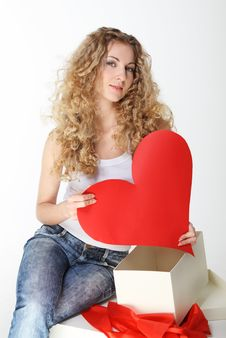 Free Blond Girl With Big Valentine Card Stock Photo - 17968160