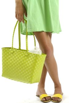 Free Woman Holding A Green Shopping Bag Stock Photo - 17968360
