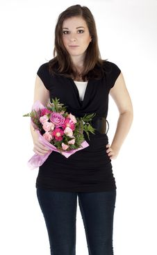 Free Young Beautiful Woman Holding Flowers Stock Photography - 17968632