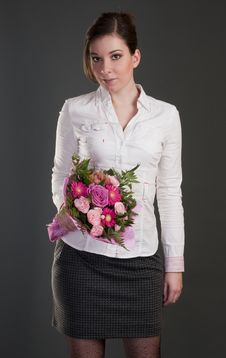 Free Young Women With Pink Bouquet Stock Photos - 17968783