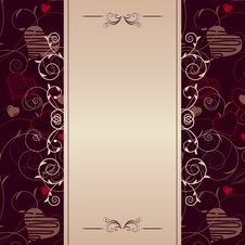 Frame With Stylized Hearts Stock Photography