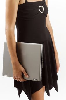 Stylish Woman Holding A Laptop By Her Side Stock Image