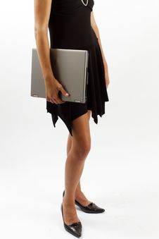 Stylish Woman With A Laptop Royalty Free Stock Photography