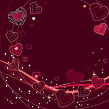 Contour Red Hearts On Dark Red Background Stock Photo