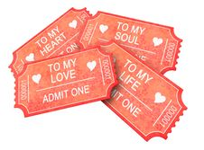 Free Four Romantic Tickets Royalty Free Stock Photography - 17969697