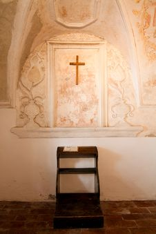 Empty Chapel Bench Royalty Free Stock Photography