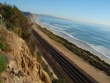 Free Railroad Track Along Beach Royalty Free Stock Images - 17969899