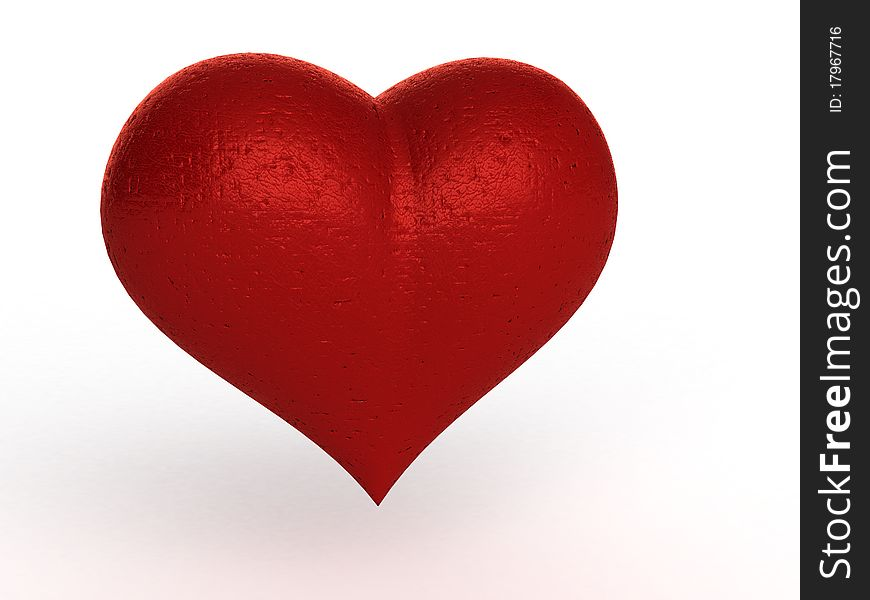 Old scratched and scarred red heart