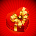 Free Heart Shape Gift With Golden Bow Stock Photos - 17973393