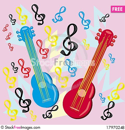 Free Two Guitars On A Musical Background Royalty Free Stock Photos - 17970248