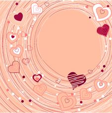 Free Contour Red Hearts On Pastel Background Stock Photos - 17970163
