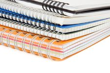 Free Pile Of Checked Notebook Isolated On White Stock Photography - 17970262