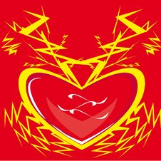 Heart, Lightning, Love. Stock Photo