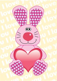 Rabbit With Heart For Valentine S Day Stock Photo