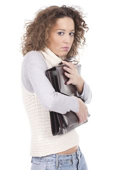Woman Holding Briefcase Royalty Free Stock Photos