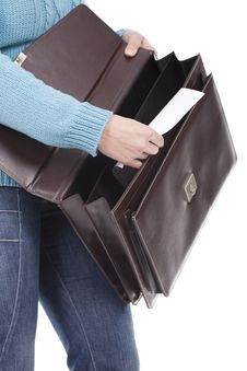 Free Woman Holding A Briefcase Royalty Free Stock Photography - 17971947