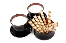 Free Two Cups With Milk And Cookies. Stock Image - 17972061