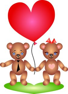 Free Happy Teddy Bears Couple Stock Images - 17972444