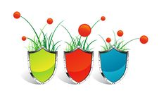 Free Icons SHIELD Grass And Flowers Stock Photography - 17972532