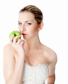Free Seducing With An Apple Royalty Free Stock Photo - 17972625
