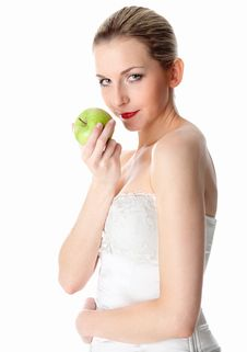 Free Woman Offering An Apple Royalty Free Stock Photography - 17972687