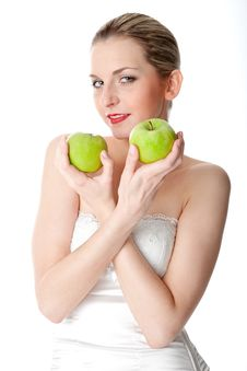Free A Woman With Two Apples Stock Photography - 17972802
