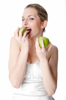 Free Young Woman With Two Apples Stock Photography - 17972862