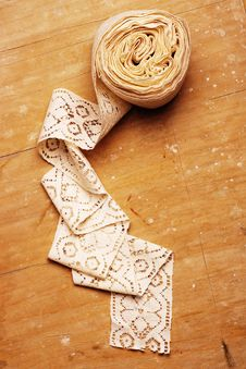 Free Lace On Wooden Background Stock Photography - 17972882