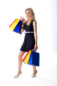 Free Woman With Colorful Shopping Bags Stock Images - 17972954