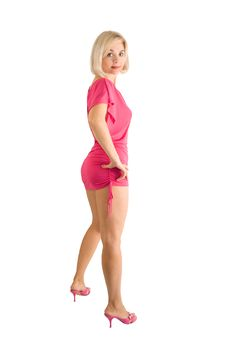 Free The Beautiful Woman In A Pink Dress Stock Photo - 17973350