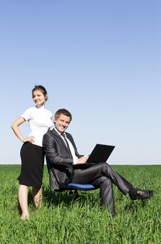 Free Young, Confident Businessmen Working On Laptop Royalty Free Stock Photography - 17973377