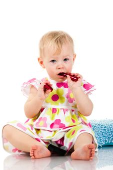 Beautiful Baby Girl With Lipstick Royalty Free Stock Photos