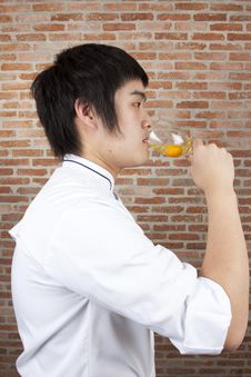 Free Chef Drinking Raw Egg Royalty Free Stock Images - 17973559