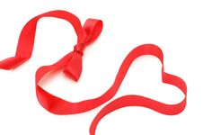 Free Bow From A Red Satiny Tape Stock Photography - 17973842