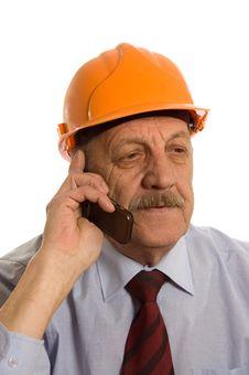 Engineer Speaks By Phone Royalty Free Stock Photo
