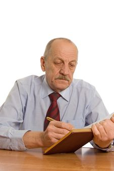 Free The Businessman Does Records In A Notebook Stock Photo - 17974100