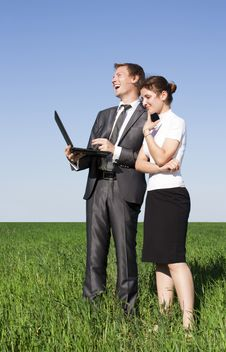 Free Two Successful Workers In The Street With A Laptop Stock Photos - 17974143